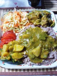 Authentically Jamaican. Sheldon Morgan's Curry Chicken, Pumpkin/Alu, Takari with Rice and Peas!