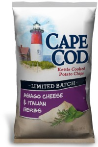 The awesomely good Asiago Cheese & Italian Herbs Potato Chips by Cape Cod!
