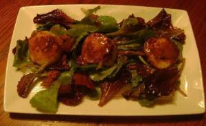 Seared Scallops w wild greens and bacon vinaigrette