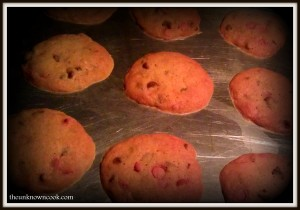 Strawberry Chocolate Chip Cookies. Soooo Good!